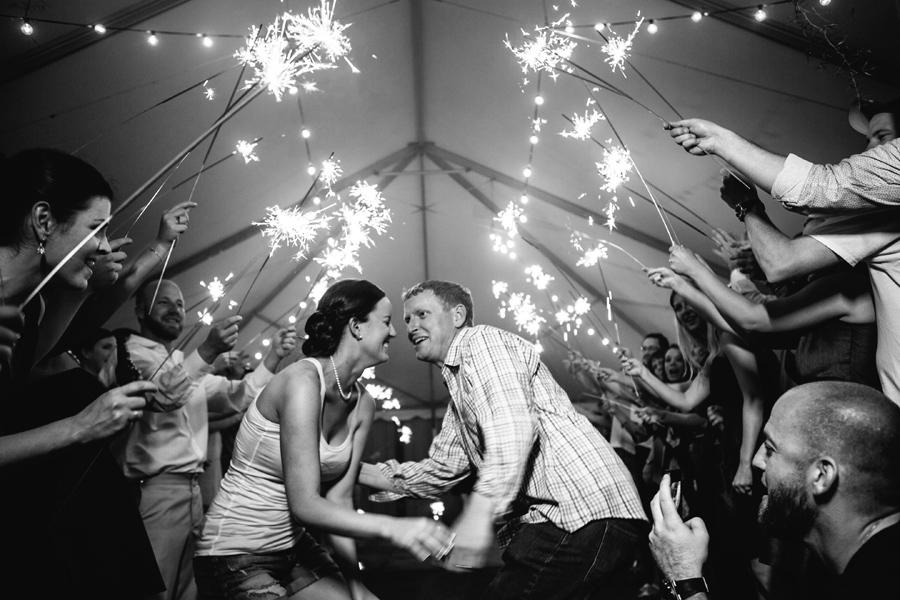 Sparkler exit at Wadmalaw Island wedding reception. © Carolina Photosmith