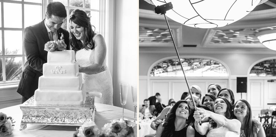 Wedding highlights: cake cutting and first bride with a selfie stick. © Carolina Photosmith