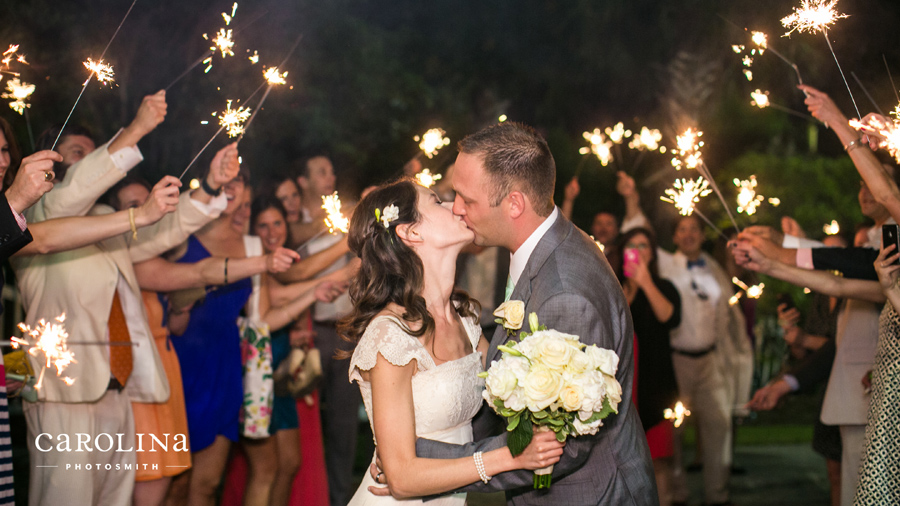 Sparkler exit from Cottage on the Creek. Favorite-Charleston-wedding-photography-highlights-by-Carolina-Photosmith-
