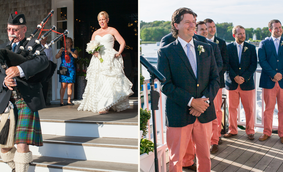Here comes the bride, led by bagpiper, as preppy groom waits at Kennebunk River Club. © Carolina Photosmith