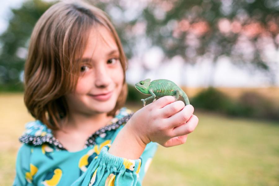 Amelia and her chameleon in the backyard at dusk. Charleston lifestyle family photography by Jen Smith © Carolina Photosmith