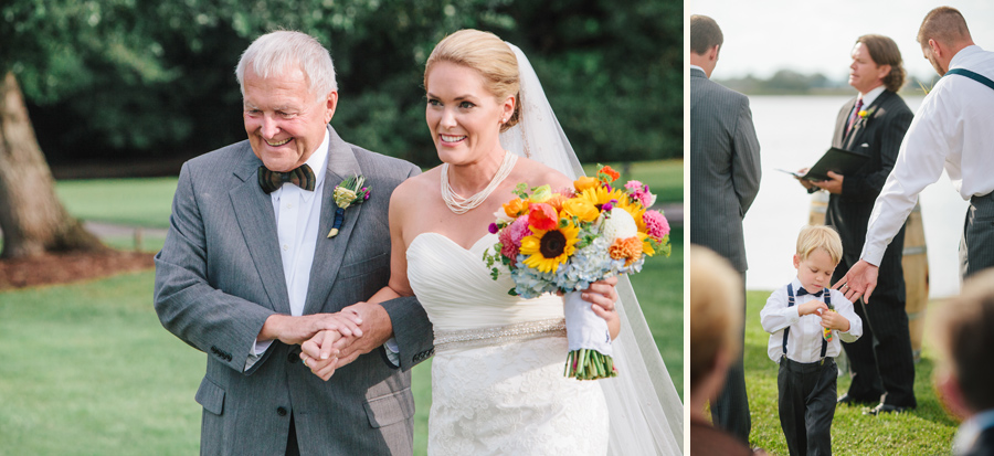 Bride escorted by her dad in his snappy Brackish bow tie at Island House wedding. © Carolina Photosmith