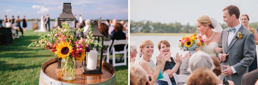 Beautiful riverside wedding ceremony at Island House near Charleston, SC. © Carolina Photosmith