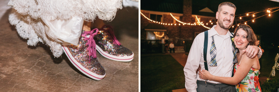 Sparkly Kate Spade kicks for the dance party at her Island House wedding reception. © Carolina Photosmith