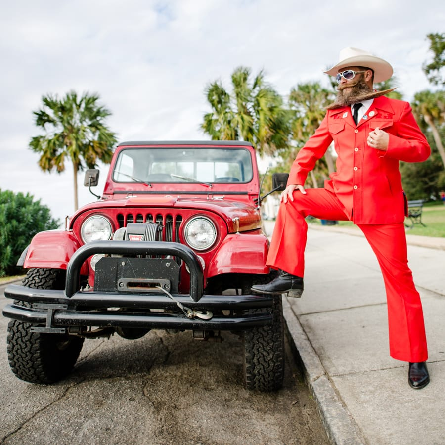 Charleston Beer Can Professor poses with his awesome beard and two 1982 Jeeps